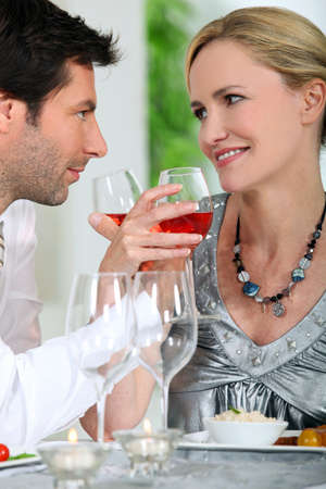 Couple drinking wine photo