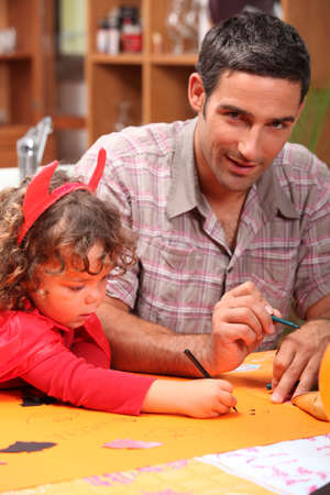 make belief: Man spending time with his daughter Stock Photo