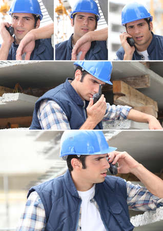 walkie: Collage of a construction worker and his walkie talkie Stock Photo