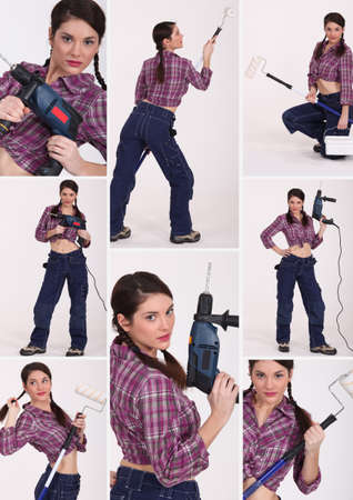 female construction worker: Collage of a female construction worker Stock Photo