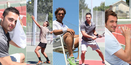 playing tennis: Collage of young men playing tennis