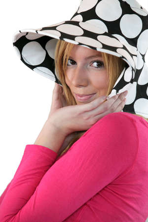 shy girl: Shy girl with dotted hat