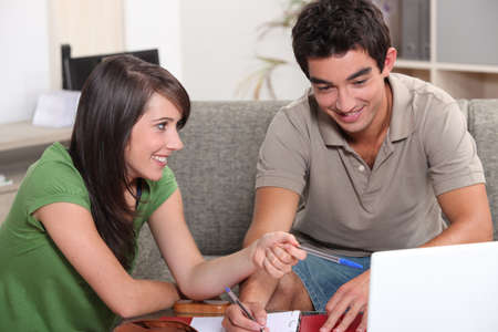 male and female student working together Stock Photo - 12006399
