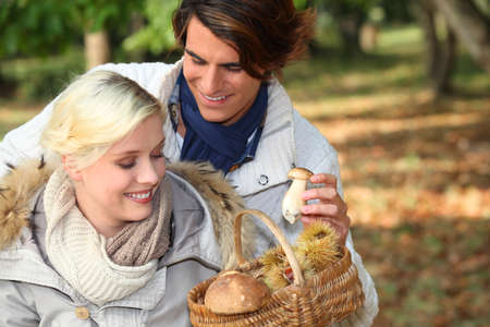 Couple collecting mushrooms photo