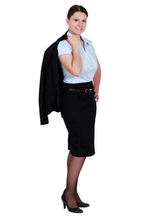 Businesswoman wearing a skirt suit photo