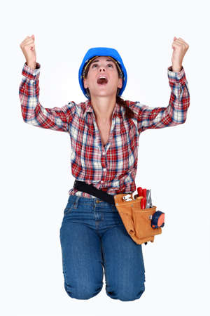 utterance: Thankful woman Stock Photo