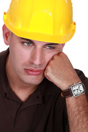 unhappy worker: Dejected entrepreneur Stock Photo