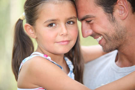 grateful: Father and daughter sharing a moment together Stock Photo