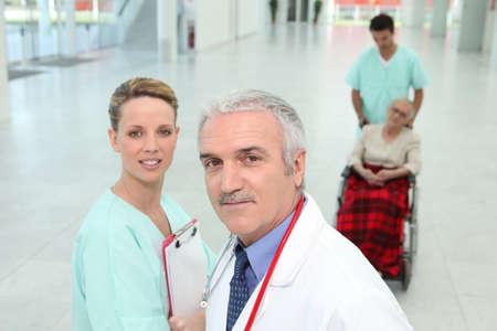 Hospital staff in corridor photo