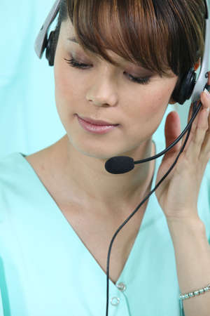 telephone headsets: Medical secretary with headset