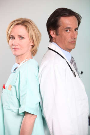 45 55 years: Nurse and doctor Stock Photo