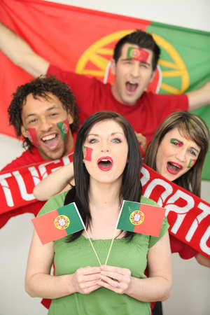 Portuguese football fans cheering Stock Photo - 12006498