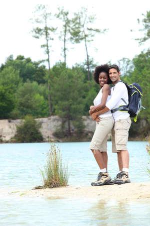 couple on a mountain hike photo