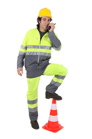 Construction worker with a walkie talkie Stock Photo - 12005366
