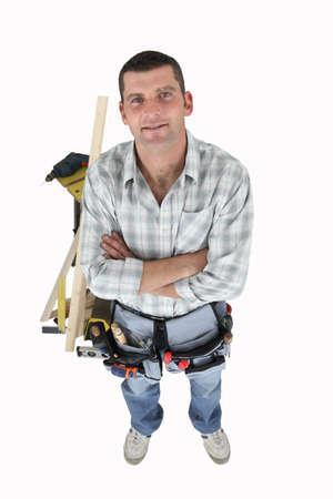 workbench: Handyman with a workbench Stock Photo