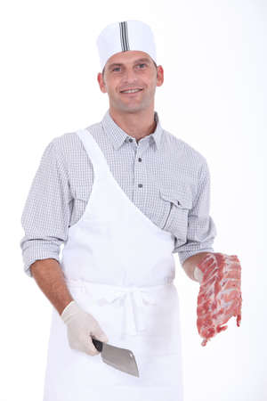 butcher with chops Stock Photo - 12006396