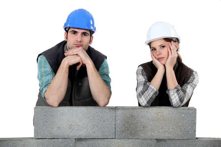 bummed: Unhappy team of bricklayers