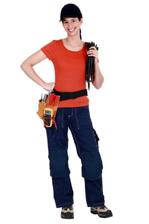 A woman electrician. photo