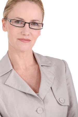 Closeup of a blonde woman wearing glasses Stock Photo - 12019513