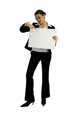 businesswoman holding an ad board Stock Photo - 12019168