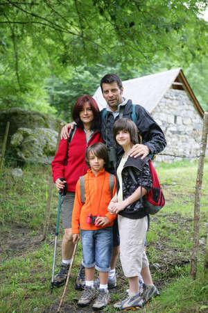 hiking stick: Family on hiking holiday