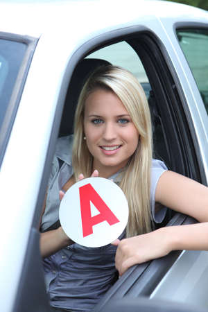pass test: Blond teenage learner driver