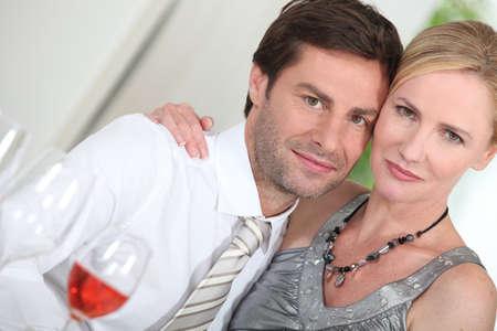 elegant couple embracing photo