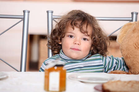 Young child waiting to eat breakfast Stock Photo - 12019504