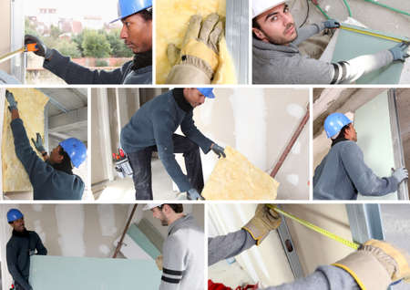 insulate: Montage of builders fitting insulation and plasterboard Stock Photo