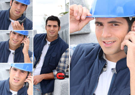 cb phone: Montage of a construction worker with a walkie talkie