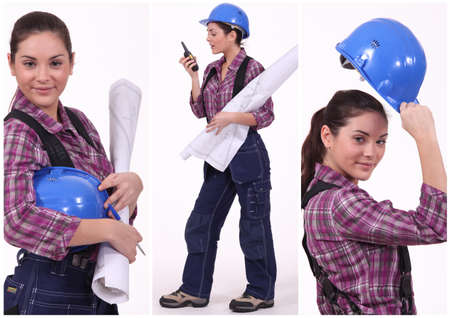 assertive: Assertive female construction worker