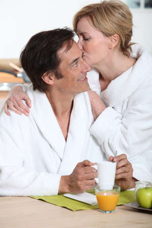 accomplices: couple at breakfast Stock Photo