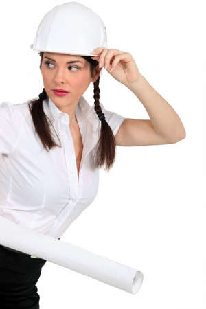 Attractive brunette architect photo