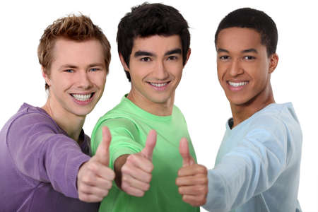 concurrence: A group of young men giving the thumb Stock Photo