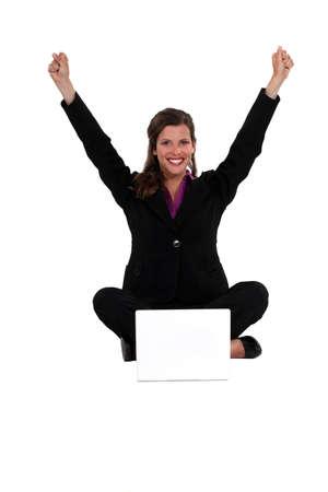 rejoicing: Woman rejoicing