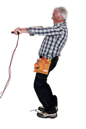 An electrician who took a shock. Stock Photo - 12057483