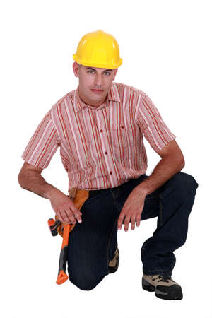 Serious looking construction worker Stock Photo - 12057659
