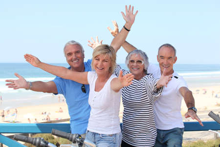 Senior citizens on holiday Stock Photo