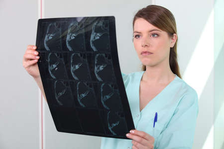 Female nurse holding x-ray image Stock Photo - 12057639