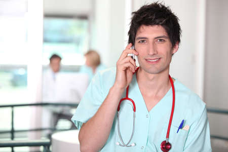Healthcare worker talking on the phone Stock Photo - 12057678