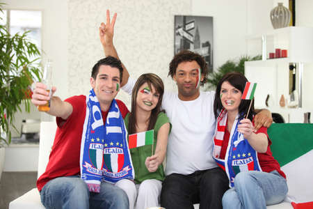 supporter: Italian football supporters at home Stock Photo