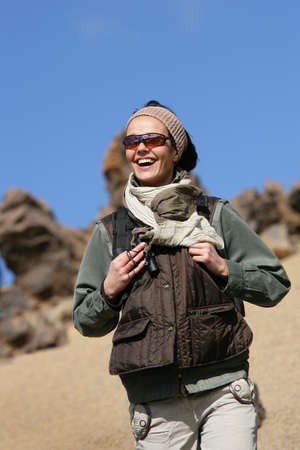 adventurer: Smiling woman hiker Stock Photo