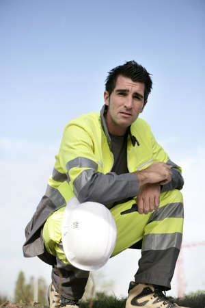 overseer: Man in high visibility clothing Stock Photo