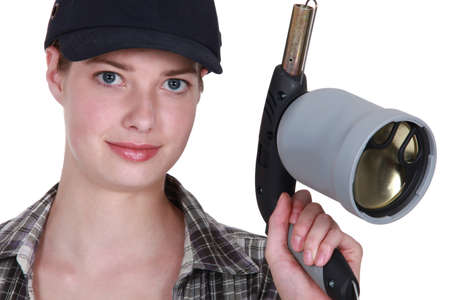 Woman with a blowtorch photo