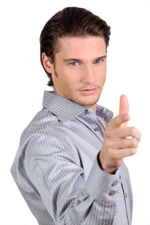 Confident man on white background photo