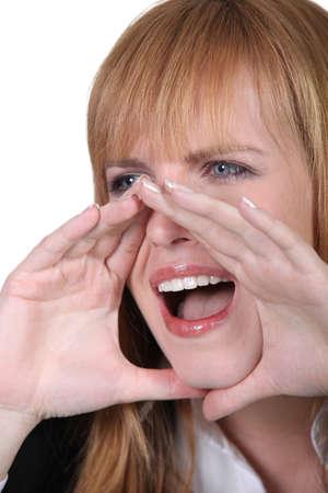 Woman yelling photo