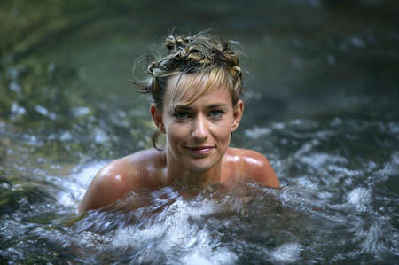 jacuzzi: Woman in a jacuzzi Stock Photo
