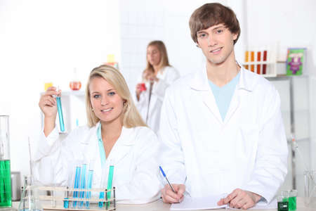 young woman and young man in a laboratory photo