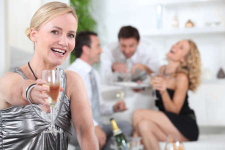 party room: woman with glass