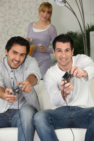 men playing video games Stock Photo - 12090846